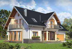 projekt Heliodor - murowana – beton komórkowy KRD2303 Beautiful House Plans, Dream House Plans, Beautiful Homes, House Outside Design, House Design, Carriage House Plans, Double Doors, Home Fashion, Home Interior Design