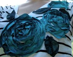 More DIY t-shirt flowers (really love these - and the colours!) #flowers #DIY