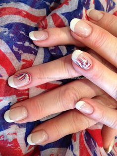 Red, white and blue flick nail art