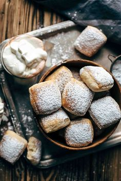 The one and only Baked Buttermilk French Beignets recipe you need. Baked not fried! So easy to make. With simple trick just 45 min. rising time. + VIDEO! #dessertfoodrecipes