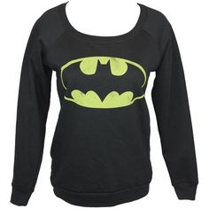 Batman Girls Juniors Pull Over Light Sweatshirt Classic Distressed Bat... ($33) ❤ liked on Polyvore featuring batman and tops