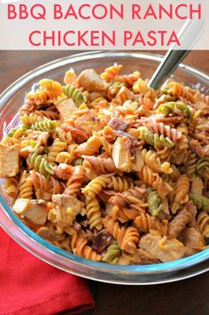 Quick, easy, and super delicious! What could be better? This pasta salad includes, chicken, bacon, barbecue sauce, cheese, ranch dressing, tomatoes, and pasta which go great togetherhttp://recipesforourdailybread.com/2014/05/10/bbq-bacon-ranch-chicken-pasta/ #pasta #salads #pastasalad #chicken