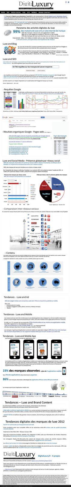 Luxe : retrospéctive digitale - Infographie de Digitaluxury étudiant l'activité digitale de 151 marques de luxe. On y apprend que 100% d'entre elles sont inscrites sur au moins un réseau social. Facebook a un poids de 26% de la présence social, Youtube de 25% et Twitter 24%, quand les réseaux Tumblr, LinkedIN et Foursquare restent minoritaires.