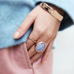 Choose cool #gemstone hues for the #Summer season with the Siren Cocktail #ring in Blue Lace Agate.  Shop through the link in our bio.