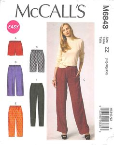 MCCALLS 6843 - FROM 2013 - UNCUT - MISSES SHORTS & TROUSERS