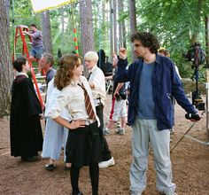 """Emma Watson as Hermione Granger and director Alfonso Cuarón on the set of """"Harry Potter and the Prisoner of Azkaban"""" (2004). by theacademy"""