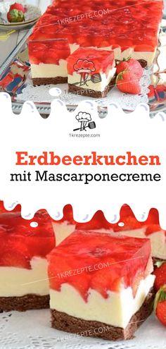 Strawberry cake with mascarpone cream - recipes - Kuchen - Gateau Creme Mascarpone, Mascarpone Recipes, Cheesecake, Strawberry Cake Recipes, Pumpkin Spice Cupcakes, Food Cakes, Savoury Cake, Clean Eating Snacks, Eat Cake