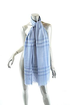 f9e5983a2ded61 Burberry Blue Sky Wool Silk Blend Signature Plaid Fringe Scarf Wrap. Free  shipping and