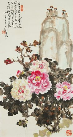 Chinese painting of birds and peony flowers.