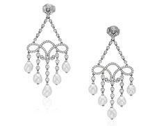 Tiffany & Co diamond and pearl drop earrings