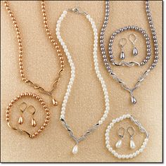 """Avon Sunday's Best Pearlesque 3-Piece Gift Set* The lustrous look of pearls in three stunning colors. Necklace, 16 1/2"""" L with a 3 1/2"""" extender; drop earrings, 3/4"""" L; stretch bracelet, one size fits most."""