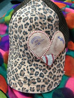 Baseball cap with baseball cover heart on Etsy, $25.00