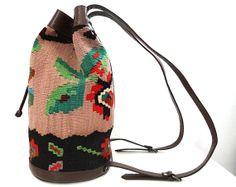Vintage 90s brown leather and Turkish kilim backpack tote rucksack satchel bag