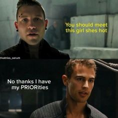 """And an exchange of guy talk:   17 """"Divergent"""" Puns That Are So Bad They're Good"""