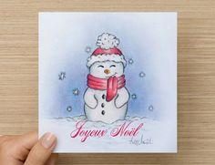 Christmas Wish card, Cartes de souhaits, snowman, Bonhomme de neige, Merry Christmas de la boutique AnnciellaAArtiste sur Etsy