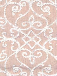 Serafina 704 Dusty Rose -  Embroidered scroll medallion fabric from Covington NY. Blush background with natural & metallic accent. For decorative pillows, curtains, upholstery, bedding or party fabric.