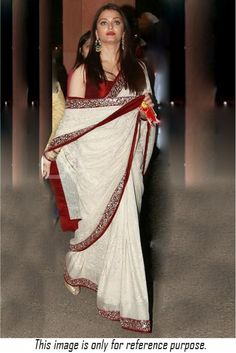 Bollywood Style Aishwarya Rai 60 GM Georgette and Velvet Saree In Off White Colour - Saree - Frisur Ideen Bollywood Designer Sarees, Bollywood Saree, Bollywood Fashion, Saree Blouse Patterns, Saree Blouse Designs, Indian Dresses, Indian Outfits, White Saree Wedding, Off White Saree