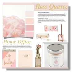 """""""Rose Quartz Home Office"""" by farmgirl2015 ❤ liked on Polyvore featuring interior, interiors, interior design, home, home decor, interior decorating, Chronicle Books, Cultural Intrigue, LEXON and Kate Spade"""
