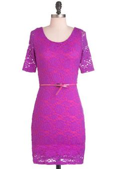 Quite a Fuchsia Dress, love the lace, and the color, Modcloth