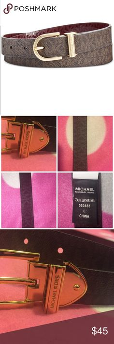 🎉🎊Michael Kors belt🎉🎊 PLEASE READ!!! Lowballers will be blocked and ignored!  NO Trades!❌🚫Please don't ask. No Holds!   Please submit all offers via offer button   Brand new with tags. Size Large (women's) 100% authentic and this belt is reversible Serial/style number is 553655. The reverse side is a glossy burgundy color. I inspect all my items before I ship them out so please be sure to read descriptions before purchasing to prevent any miscommunication. Michael Kors Accessories Belts