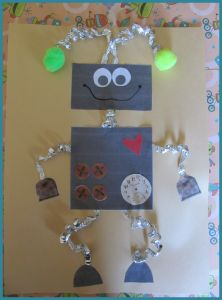 robbie-the-robot-craft- roll tin foil and twist around pencil