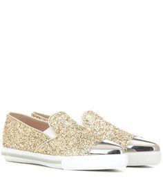the best attitude 91b49 5da71 Golden and silver-tone embellished glitter slip-on sneaker Glida På  Sneakers, Skor