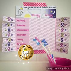 Teeth Brushing Chart for girls  Instant Download by Pitoti on Etsy