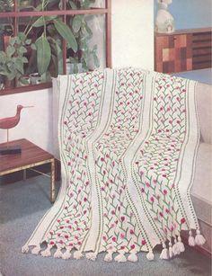 Vintage Knitting Crochet Patterns Afghans Pillows Bear Fleisher Vol 42 TUNISIAN
