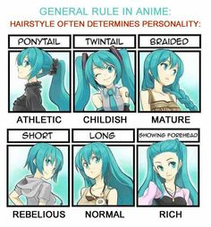 Hairstyles determines different behaviors in anime-dunno if this is always true, but pretty cool.