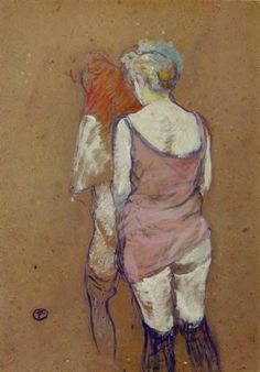 Two Half Naked Women Seen from Behind in the Rue des Moulins Brothel - Henri de Toulouse-Lautrec Completion Date: 1894 Style: Post-Impressionism Genre: sketch and study Technique: oil Material: cardboard Gallery: Musee Toulouse Lautrec Henri De Toulouse Lautrec, Kunst Online, Online Art, Renoir, Art Aquarelle, Manet, Vintage Artwork, Art Moderne, Impressionist