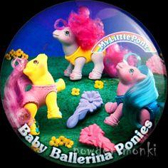 "Retro Toy Badge/Magnet - My Little Pony Y9 ""Baby Ballerina Ponies"" www.powdermonki.co.uk"