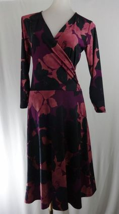CABI S # 837 Purple Pink Floral 3/4 Sleeves A-Line Stretch Faux Wrap Dress #CAbi #StretchBodycon #Casual