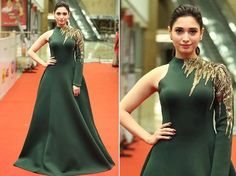 The actress at the event. Read more http://fashionpro.me/tamannah-looks-gorgeous-green-cinemaa-awards