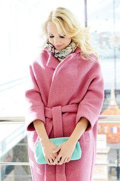 Купить Пальто шерстяное зимние, длинное, розового цвета - бледно-розовый, однотонный, пальто