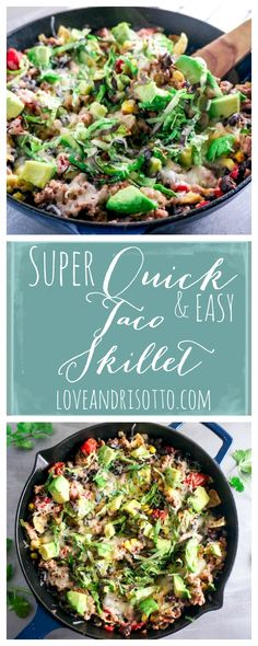 This delicious and cheesy taco skillet is a one-pan wonder! With turkey, avocado and black beans, it is so healthy and incredibly easy!