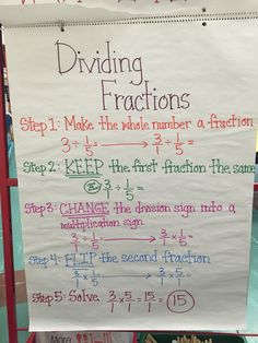 Dividing fractions is as easy as pie flip the second fraction dividing fractions anchor chart ccuart Gallery