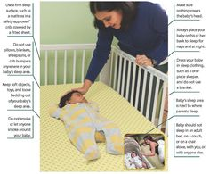 illustrating ways to reduce baby risk's of SIDS: Use a firm sleep surface, such as a mattress in a safety-approved* crib, covered by a fitted sheet; Do not use pillows, blankets, sheepskins, or crib bumpers anywhere in your baby's sleep area; Keep soft objects, toys, and loose bedding out of your baby's sleep area; Do not smoke or let anyone smoke around your baby; Make sure nothing covers the baby's head; Always place your baby on his or ...