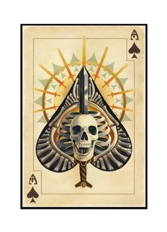 Ace of Spades - Playing Card - Lantern Press Artwork (16x24 Framed Gallery Wrapped Stretched Canvas), Multi Queen Of Spades, Ace Of Spades, Art Et Illustration, Illustrations, Memento Mori, Playing Cards Art, Art Carte, Pop Art, Stock Art