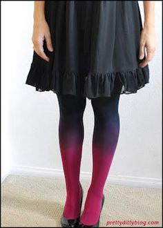 DIY Clothes DIY Refashion: DIY Ombre Tights this would be cool to make your own galaxy tights