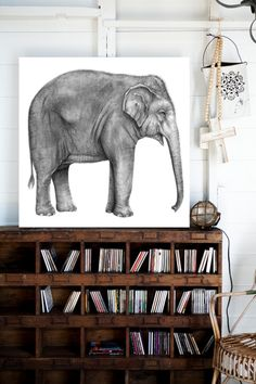 Elephant Print with Bookcase.