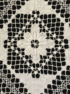 "Vintage Crocheted Bobbin Lace Cream Tablecloth Topper Square 40"" Very Pretty"