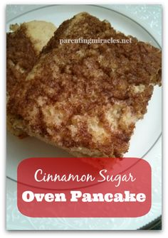 This incredibly easy baked pancake comes together in a jiffy and is an easy way to serve a whole crowd. Thanks to the sweet cinnamon topping, it can be enjoyed plain or with syrup.