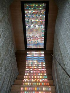Pantone Stained Glass Window Door by Armin Blasbichler Studio whose stained glass window door is compiled from Pantone swatches, laminated glass and a wood frame via My Modern Metropolis. Kitchen Decorating, Stained Glass Door, Leaded Glass, Stained Table, Laminated Glass, Design Case, Colored Glass, Feng Shui, Diy Home Decor