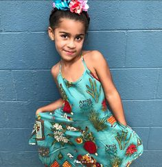 The Frida Dress to inspire the youth. Blue dress. Mexican heritage. Kids Fashion