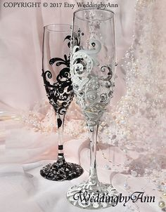 White and Black Lace Wedding Glasses Lace Wedding Bride And