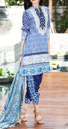 Buy Blue Embroidered Cotton Lawn Dress by Mahnoor 2016