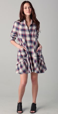 Band of Outsiders flannel shirt-dress