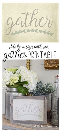 Make this gather sign in less then an hour using our FREE gather printable. Wine Racks, Wooden Crafts, Diy Crafts, Fall Crafts, Art Deco, Diy Signs, Wall Signs, Do It Yourself Home, Printable Wall Art