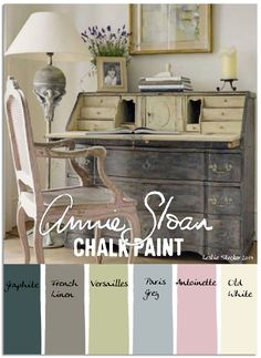 French Secretary - Colorways with Leslie Stocker - Annie Sloan Chalk Paint® (ASCP) Graphite, French Linen, Versailles, Paris Grey, Antoinette, Old White