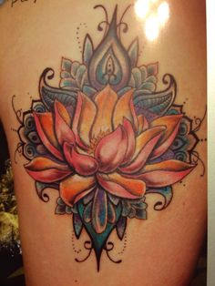 Lotus tattoo done by Donna Molina